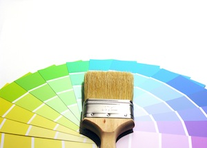 Paint Color Chips And Paint Brush